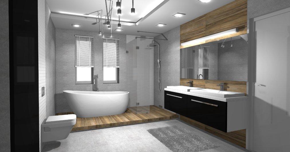 Projekt łazienki Z Dwoma Oknami